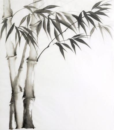 대나무의 원래 수채화 그림. 아시아 스타일.