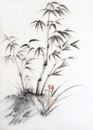 Original watercolor painting of bamboo and orchid. Asian style. photo