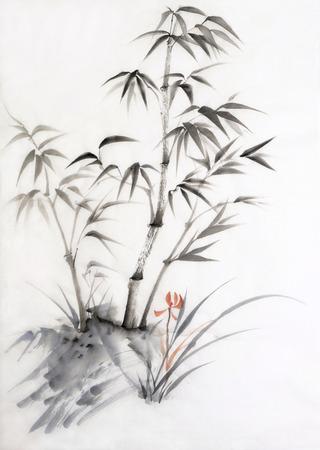 Peinture originale d'aquarelle de bambou et l'orchidée. Style asiatique. Banque d'images - 25292683