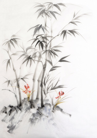 Original watercolor painting of bamboo and orchid. Asian style.