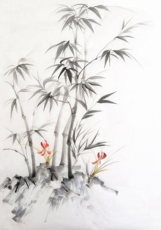 Origineel aquarel schilderij van bamboe en orchidee. Aziatische stijl.