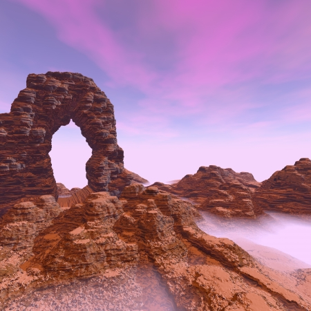 natural arch: 3d illustration of desert with canyon arch and fog
