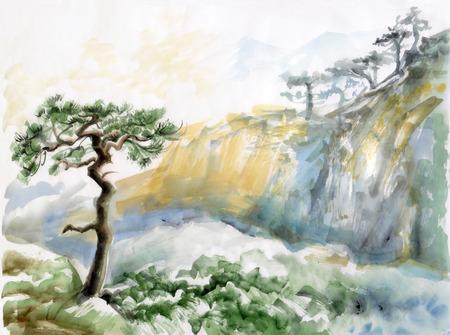 Waterverf het originele schilderij van het landschap met rotsen en pijnboom Stockfoto