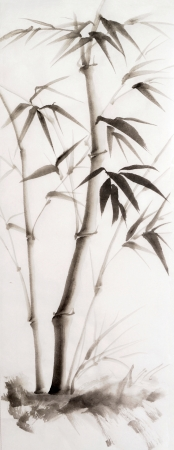 Original watercolor painting of young bamboo. Asian style. photo