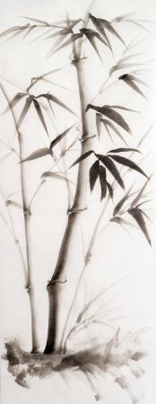 Origineel aquarel schilderij van jonge bamboe. Aziatische stijl.