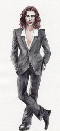 man long hair: Original watercolor painting of a handsome long hair man wearing gray suit Stock Photo