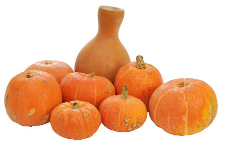Group of ripe red pumpkins isolated on white background