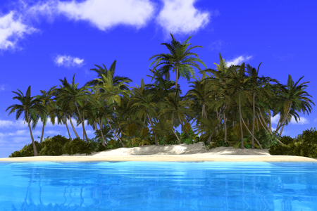 3d illustration of a beautiful tropical scene with palms, white sand and blue ocean