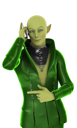 goblin: Stylish green alien creature with mobile phone isolated on white. 3d illustration. Stock Photo