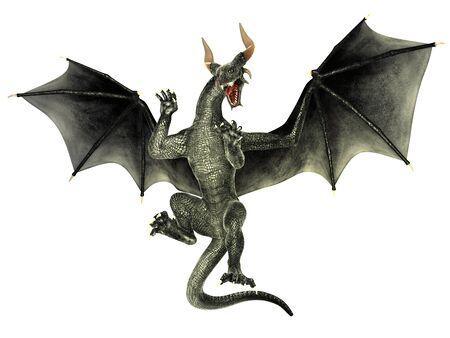 Elegant dragon isolated on white background 3d illustration Stock fotó