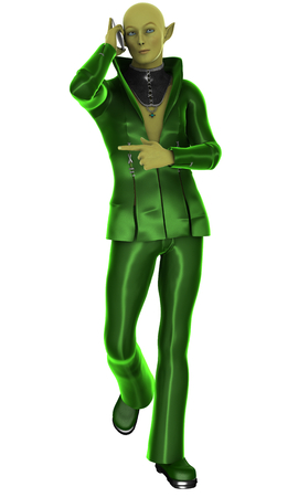 Stylish green alien creature with mobile phone isolated on white. 3d illustration. Stock Photo