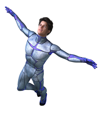 3d CG illustration of Sci Fi super hero character flying