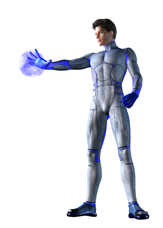 sci: 3d CG illustration of Sci Fi super hero character Stock Photo