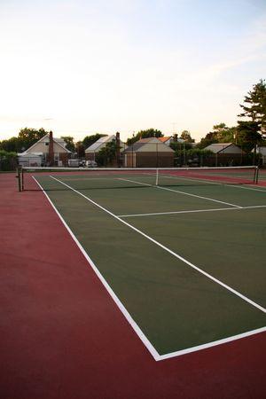 Outdoor Tennis Court in Park Imagens