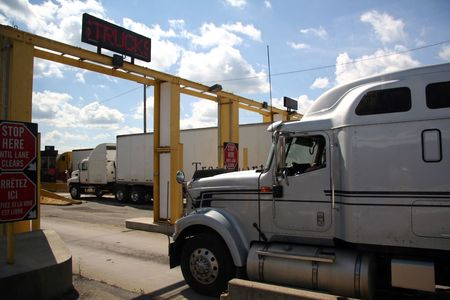 Truck Crossing the Canadian - United States Border