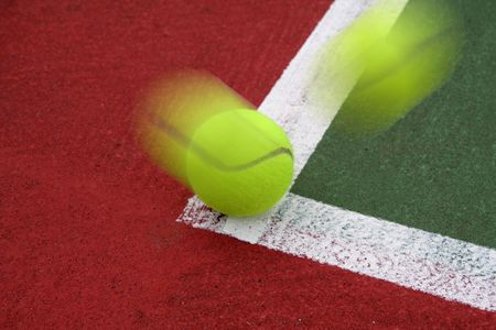Tennis Ball on the Line Stock Photo - 573020