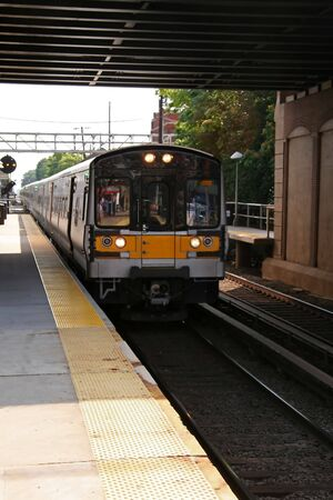 commuter: Commuter Train in Motion on New York Line Stock Photo