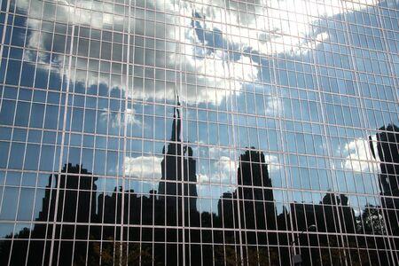 New York Skyline Reflection in Glass Building