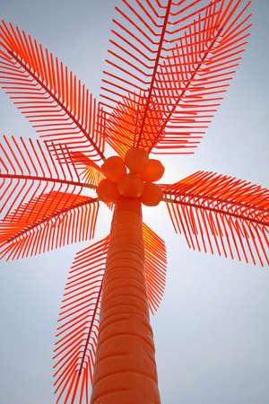 Orange Plastic Palm Tree Фото со стока