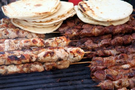 grill tongs sausage: Chicken and Beef Kabobs on Grill