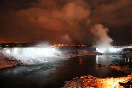 Niagara Falls Landscape at Night During Winter photo