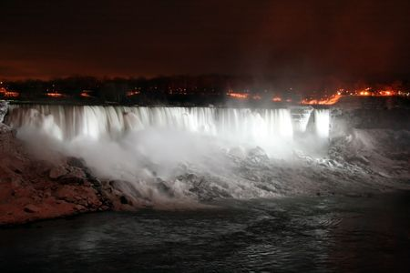 Niagara Falls at Night with Lights - American and Veil Falls photo