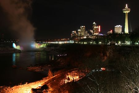 Niagara Falls City Landscape at Night During Winter photo
