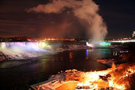 Niagara Falls Landscape at Night During Winter