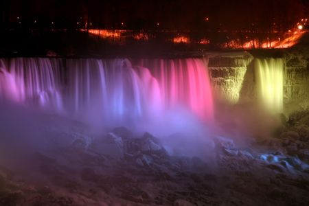 Niagara Falls at Night - American and Veil Falls Stock Photo - 651469