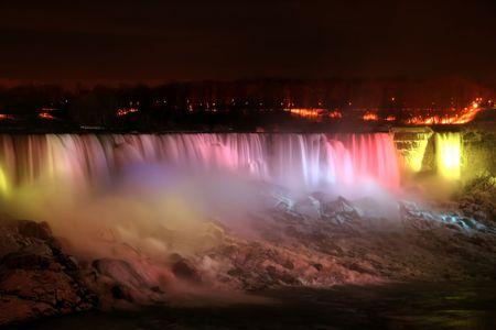 Niagara Falls at Night - American and Veil Falls