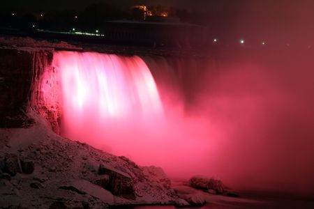 Niagara Horse Shoe Falls at Night with Red Lights photo