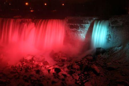 Niagara Falls at Night - American and Veil Falls photo