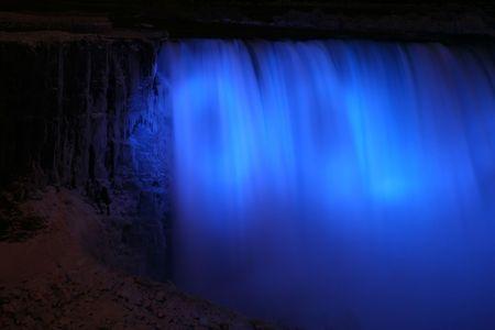 Niagara Horse Shoe Falls at Night with Blue Lights photo
