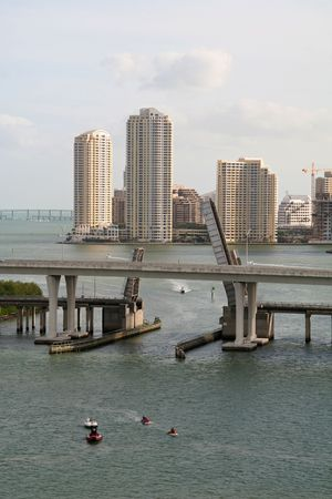Miami Florida Skyline with Draw Bridge and Boats Stock Photo