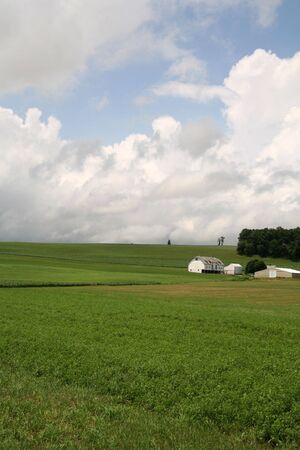 Farm House with Barn on Hill and Open Green Field