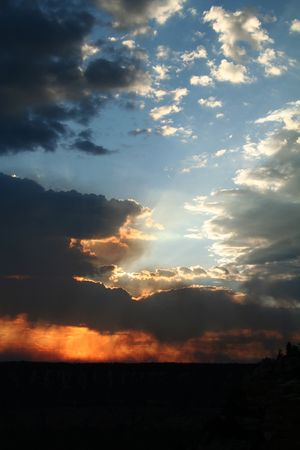 Grand Canyon Sunset with Light Breaking Through Stock Photo - 651126