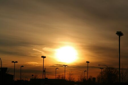 Sunset from Parking Lot in New York Stock Photo - 651105