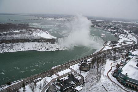 Aerail View of Niagara Falls in the Winter - Horseshoe Falls