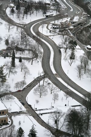 Aerial Road View in the Winter Snow photo