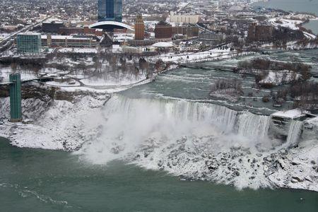Aerail bekijken van Niagara Falls in de winter - American Falls Stockfoto