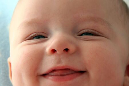 Close Up of Smiling Baby Boys Face