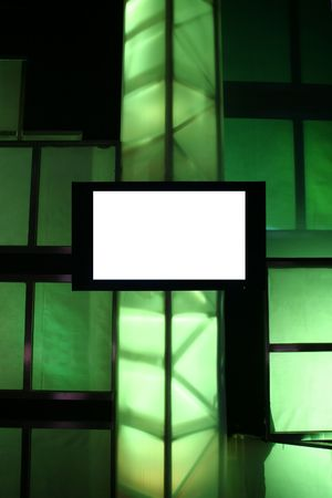 business pitch: Blank Presentation Monitor on Stage with Green Lights