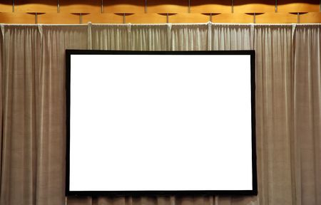 keynote: Blank White Screen for Presentation on Stage Stock Photo