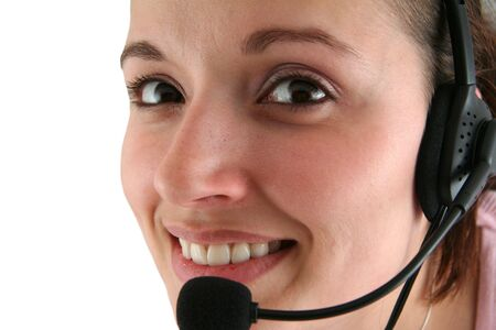 Young Woman with Headset on a White Background Фото со стока