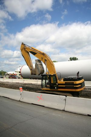 Roadside Construction Excavator Building Out Roadway Stock Photo - 667635