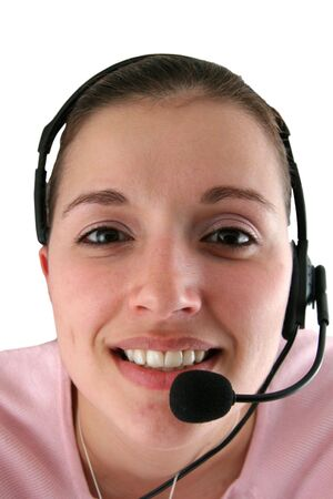 Young Woman with Headset on a White Background Banco de Imagens