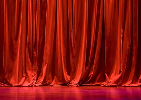 theatre performance: Red Velvet Stage Curtains with Stage Floor