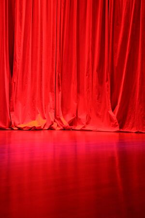Red Velvet Stage Curtains with Stage Floor Фото со стока - 861641