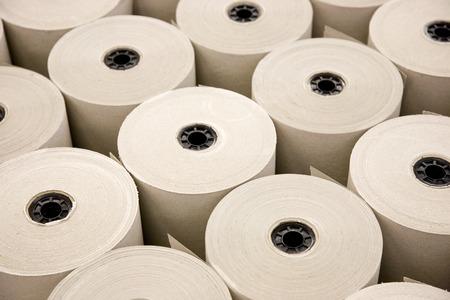 Industrial White Paper Rolls in a Row Archivio Fotografico