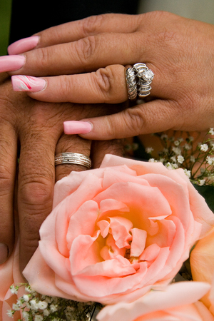 Newly Weds Holding Hands with Rings and Flowers Reklamní fotografie